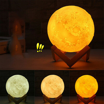 3D Printing Moon Lamp USB LED Moonlight Night Light Touch Color Changing 20cm