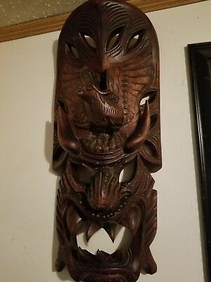 Antique Japanese wooden Oni, hand-carved mask.