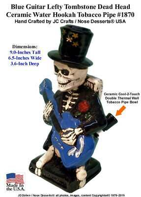 Guitar Lefty Skeleton Water Hookah Ceramic Glass Tobacco Pipe 1870 Made in USA