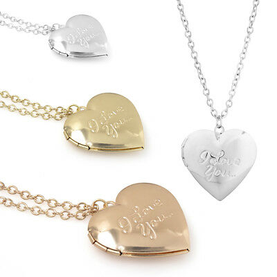 I love you heart locket photo pendant necklace + free drawstring gift pouch
