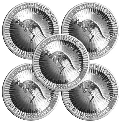 Lot of 5 - 2018-P $1 Silver Australian Kangaroo 1 oz Brilliant Uncirculated