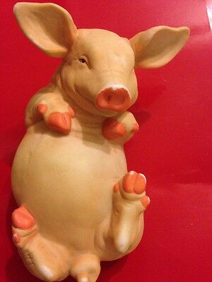 "Pig Figurine 6"" Pink Ceramic Collectible Farm Laying on Back"