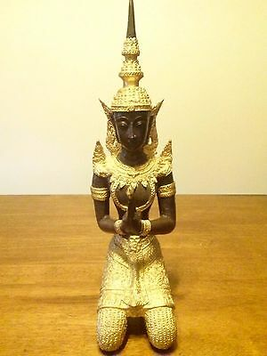 Antique / Vintage Gilt Bronze Thai Statue Teppanom Buddha Guardian Angel 16""