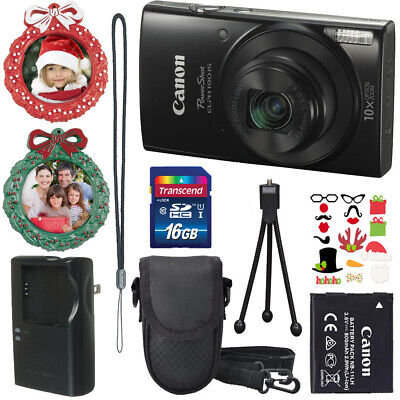 Canon PowerShot ELPH 190 IS (Black)+Case+16GB SD Card+Holiday Accessories