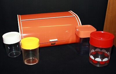 Brotkasten orange alt IRA Denmark plus Kunstoff Vorratsdosen - Vintage