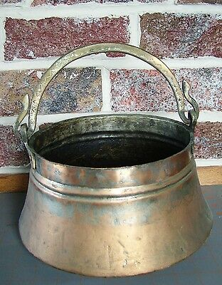 Vintage Large Copper Pot With Swinging Brass Handle ~ Houston Int'l Collectible