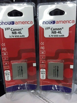 PHOTOAMERICA NB-4L Lithium-Ion Replacement Battery (2 Packs) for Canon PowerShot