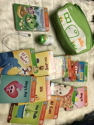 Leap Frog Tag Junior Reading System Reader Pen And 11Book Lot With Case - Tested