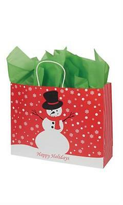 """100 Paper Bags Snowman Holiday Christmas Shopping 16"""" x 6 x 12 ½"""" Retail Gift"""