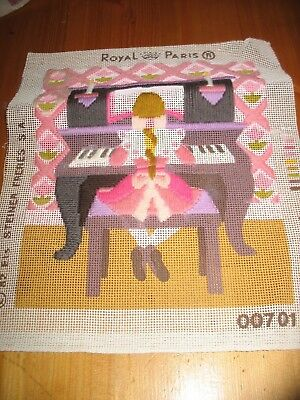 Girl Playing Piano Part Complete Long Stitch Tapestry Kit - Royal Paris wool inc