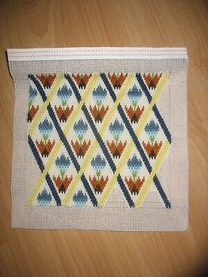 Modern Flower Stitch Tapestry Sample in Wool ( not complete) 20 x 19 cm