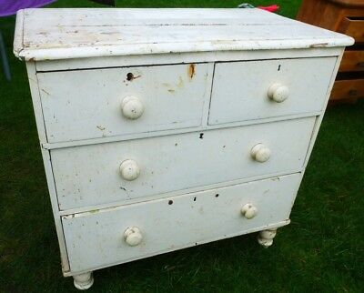 Antique Pine Chest Of Drawers Farm House Look Or Project Piece 2 Over 2