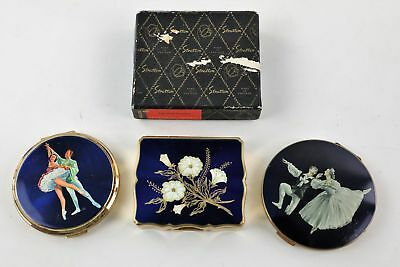 3 x Vintage STRATTON Ladies Vanity Compacts Inc. Signed & Working Musical