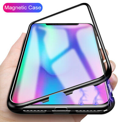 For Huawei P20 P20 Lite Pro Magnetic Absorption Metal Case Tempered Glass Cover