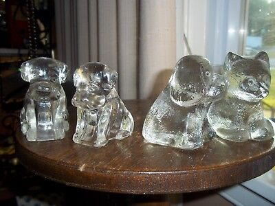 3 Dogs and a Cat Vintage Glass Figures Figurines Puppy Hound