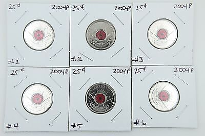 Canada 25 Cent Quarter Collection - 2004P Poppy Special Wrap Uncirculated UNC