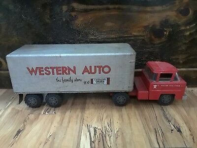 Vintage Marx Pressed Steel Western Auto 1950s Delivery Truck Tractor Trailer 25""