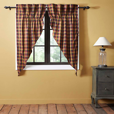 Heritage Farms Check Rustic Cotton Country Cottage Window Prairie Curtains