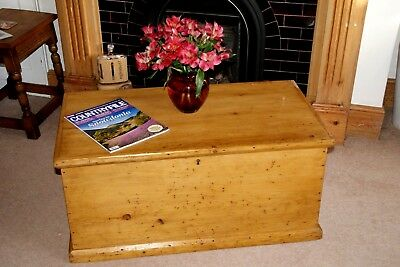 Lovely Victorian Pine Blanket Box, Coffer, Toy Box, Coffee Table