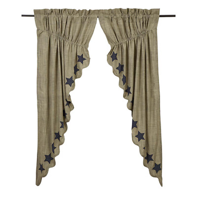 Vincent Star Scalloped Cotton Primitive Country Cottage Window Prairie Curtains