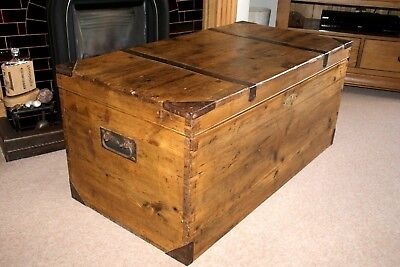 Lovely Attractive Victorian Pine Blanket Box/coffer/chest, Iron Handles, Toy Box