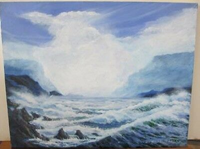 "Rousselet ""Sea & Sky 2004"" Sand Sea Waves Hand Signed original oil Stretched"