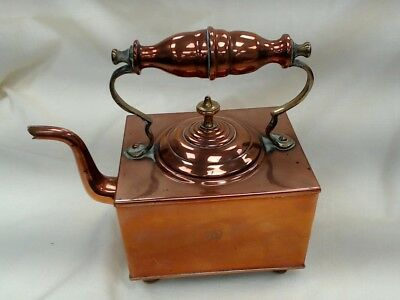 Antique English Victorian Copper&Brass Square Teapot marked V crown R both sides