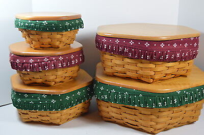 Longaberger Set of 5 Generation Baskets with Protectors, Liners and Lids + Cover