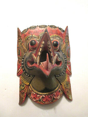 ANTIQUE / VINTAGE ASIAN /Balinese Wooden Barong Hand Carved & Painted MASK