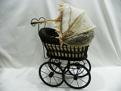 Vintage Rattan Wicker & Wrought Iron Doll Carriage