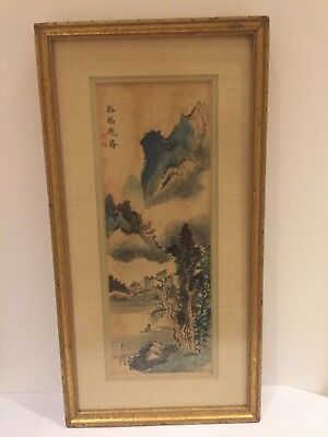 Antique/Vintage  Chinese /Japanese Watercolour Landscape Painting 37x19cm Signed