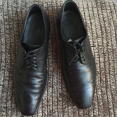 Hugo Boss size 8 Mens Classic Leather Lace-up Black Dressy Loafers Made in Italy