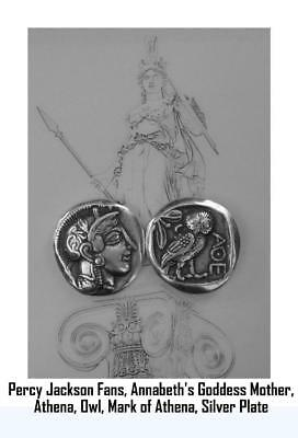 Athena and Owl, Greek Coin, Percy Jackson Teen Gift, Annabeth's Mother (PJ12-S)