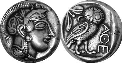 Athena and Owl Goddess of Wisdom Mark of Athena Greek Coin Greek Mythology(12-S)