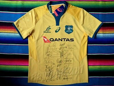 ✺Signed✺ 2018 QANTAS WALLABIES Rugby Jersey PROOF COA Union Australia 2019