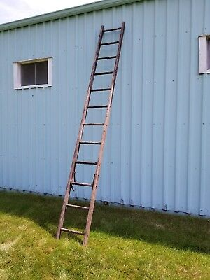 "Wood Ladder 12 Rungs  Approximately 144"" Weathered VINTAGE ANTIQUE SHABBY"