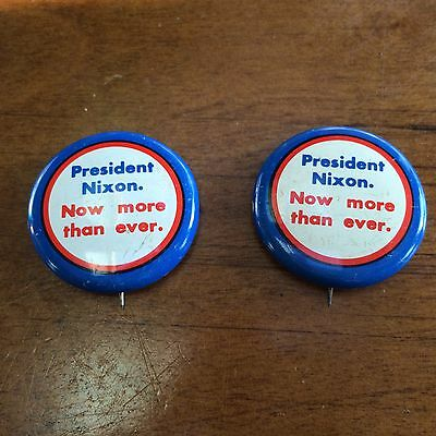 Lot of 2 President Nixon Now More Than Ever 1972 Campaign Pins