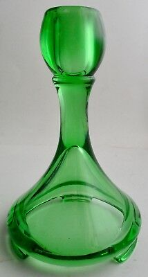 VTG Unmarked Maker Art Deco Style Green Glass Footed Candlestick Candle Holder