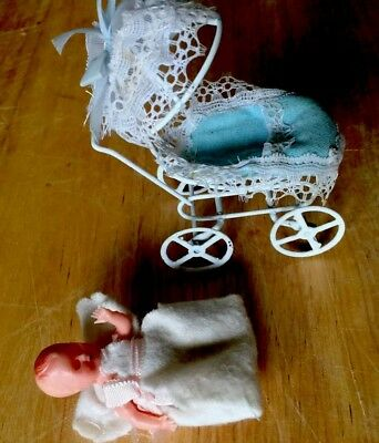Vintage Miniature Dollhouse Baby Buggy Carriage Wire Frame & Doll