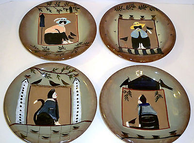 Sakura Fiddlestix Fancy Cats Decorative or Dessert Plates Black White Kitty