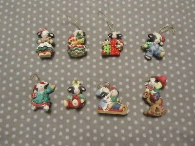 Set of 8 Mary Moo Christmas Ornaments