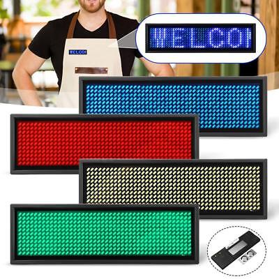 Mini LED Digital Programmable Rechargeable Scrolling Name Message Tag Sign  #