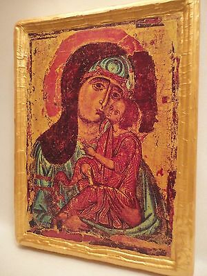 Virgin Mary with Child Jesus Christ Rare Russian Orthodox Icon on Wood Plaque