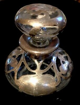 Antique Sterling Silver Overlay Perfume Scent Bottle Floral Room for Engraving