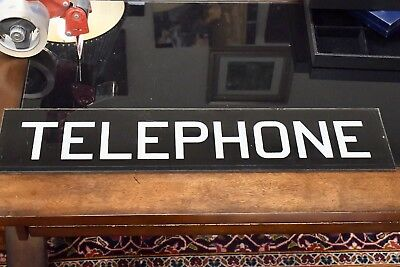 ANTIQUE VINTAGE REVERSE PAINTED GLASS TELEPHONE BOOTH SIGN, BLACK And WHITE