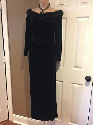 Holiday Formal Black Velvet Off Shoulder TOP faux fur by ALEX Evenings Size SP