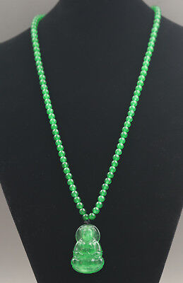 Natural green jade hand-carved Buddha guanyin and beads pendant necklace