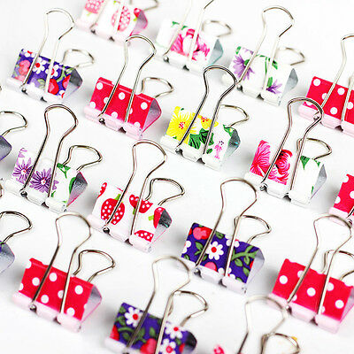 24Pcs/set Cute Colorful Metal Binder Clips File Paper Clips Office Supplies 19MM