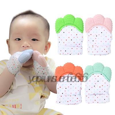 Infant Baby Kids Silicone Safety Teether Soft Gel Teething Mitten Molar Glove