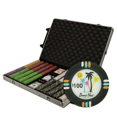 """1000 Count Claysmith Gaming """"Desert Heat"""" Poker Chips Set in Rolling Case"""